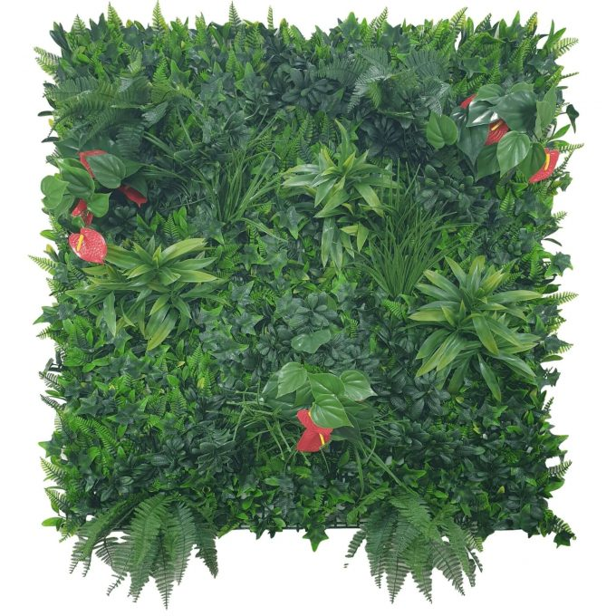 artificial green wall panel with red flowers