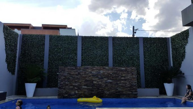 Green Wall with artificial ivy