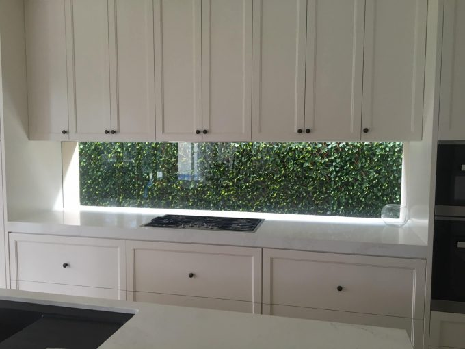 kitchen splash back wall with artificial plant walls