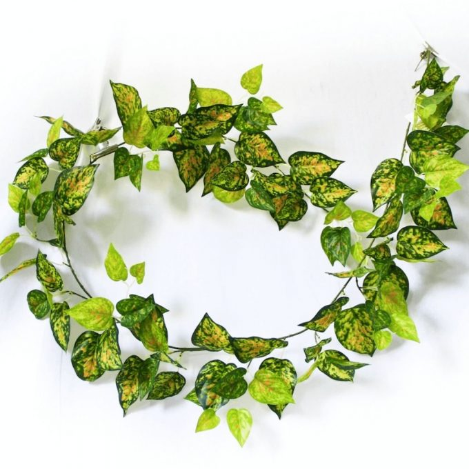 Artificial Plant-Mixed Yellow and Red Pothos Garland 190cm