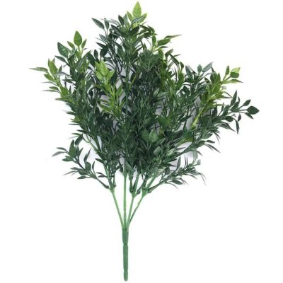 faux dark green boxwood plant stem