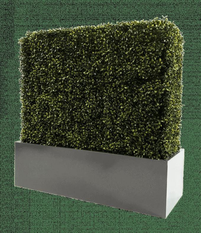 Metal planter for artificial hedges