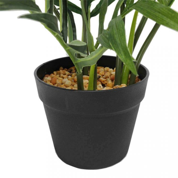 pot with pebbles - artificial small potted fern plant