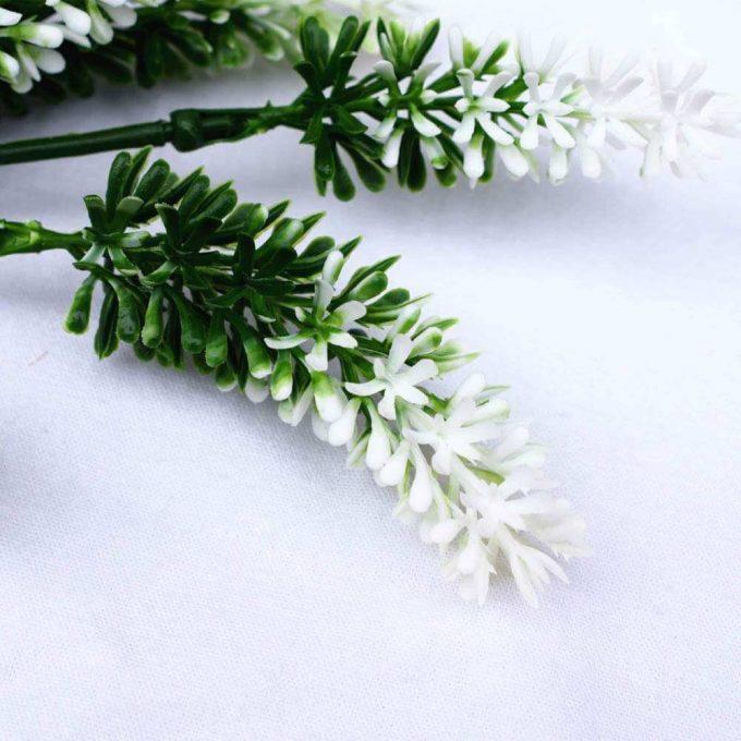Small white artificial lavender plant stem