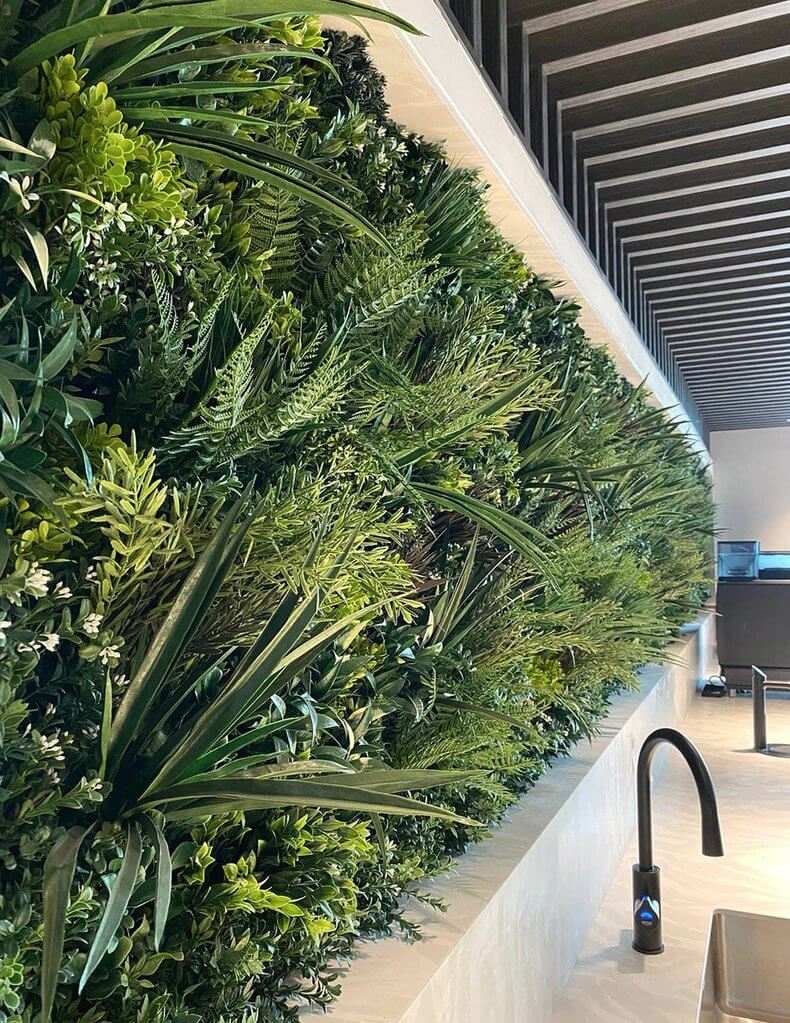 green wall panel installed into a display home