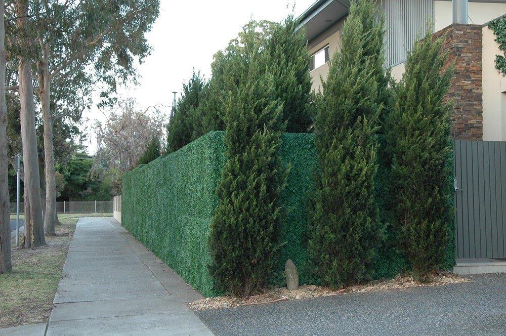 fake boxwood hedge panels on a fence