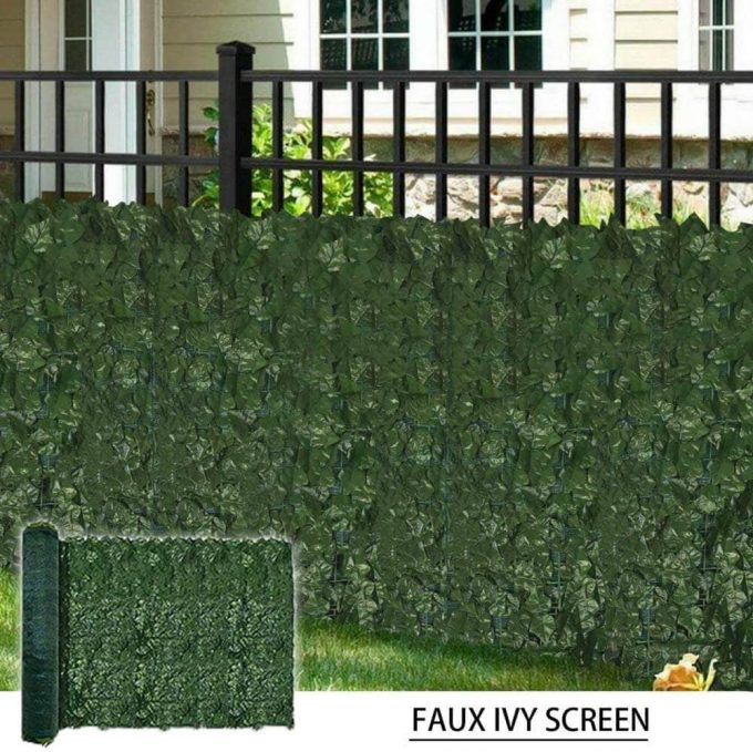 artificial ivy roll installed onto a fence