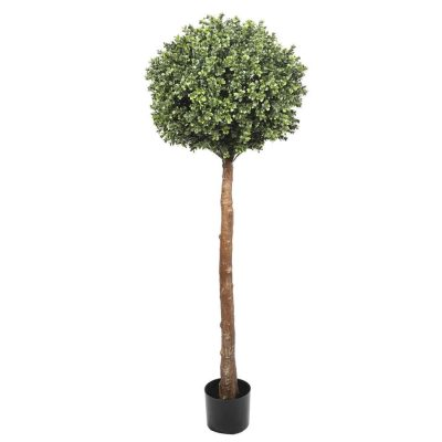 medium height artificial topiary shrub on a trunk