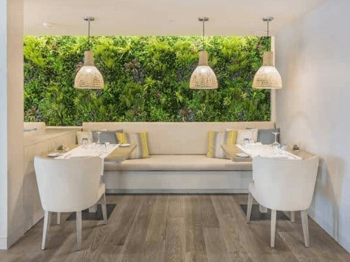 Hotel and cafe with a green wall installed