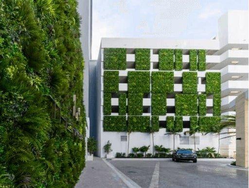 artificial green walls on a carpark