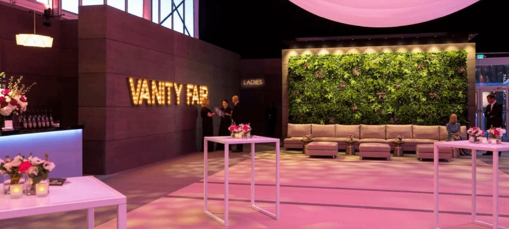 Artificial green wall for events and backdrops