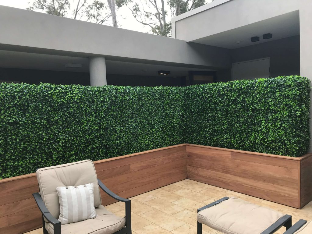 Terrace WIth Portable Mixed Boxwood Hedge