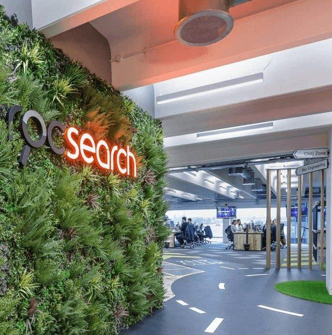 artificial vertical garden installed into an SEO office