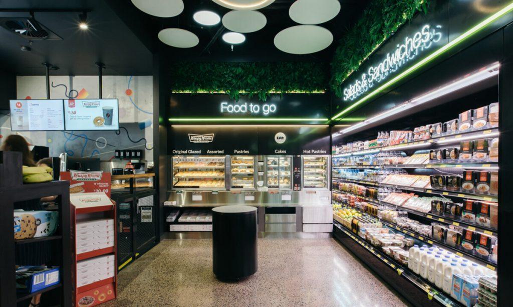 artificial green wall panels in a shopping center