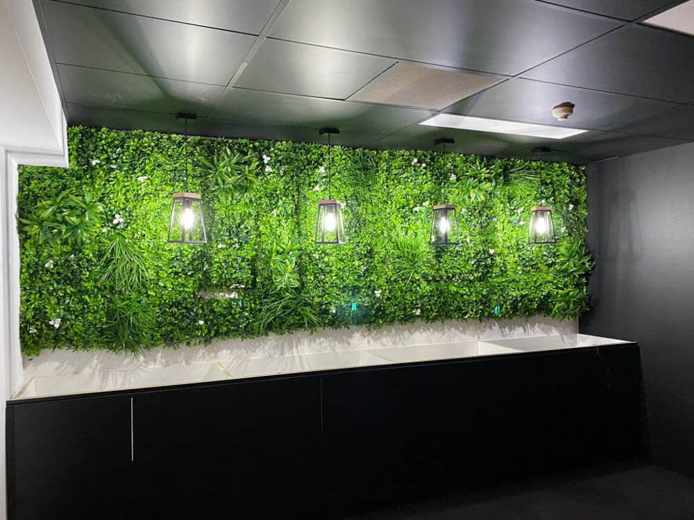 modern interior design for an office wall with green walls