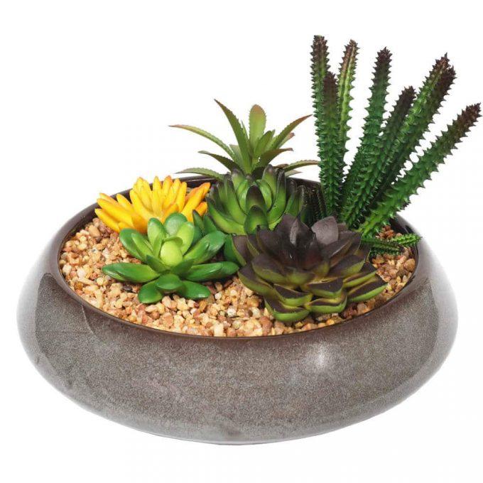 high quality artificial succulent bowl