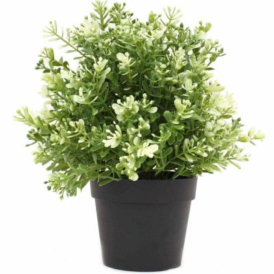 small potted artificial plant made from recycled plastic