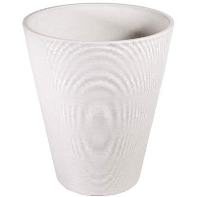 white textured plastic pot planter