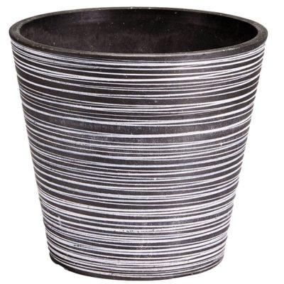 decorative plastic garden pot black and white