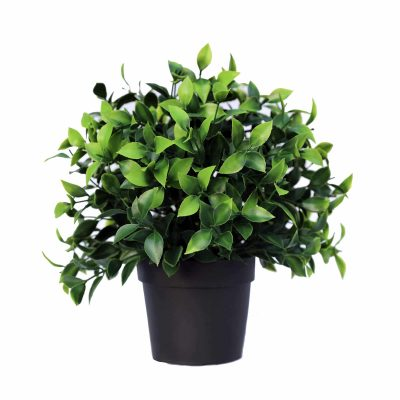 small fake outdoor plant in a pot