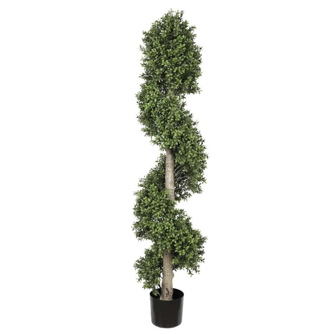 potted faux spiral topiary tree